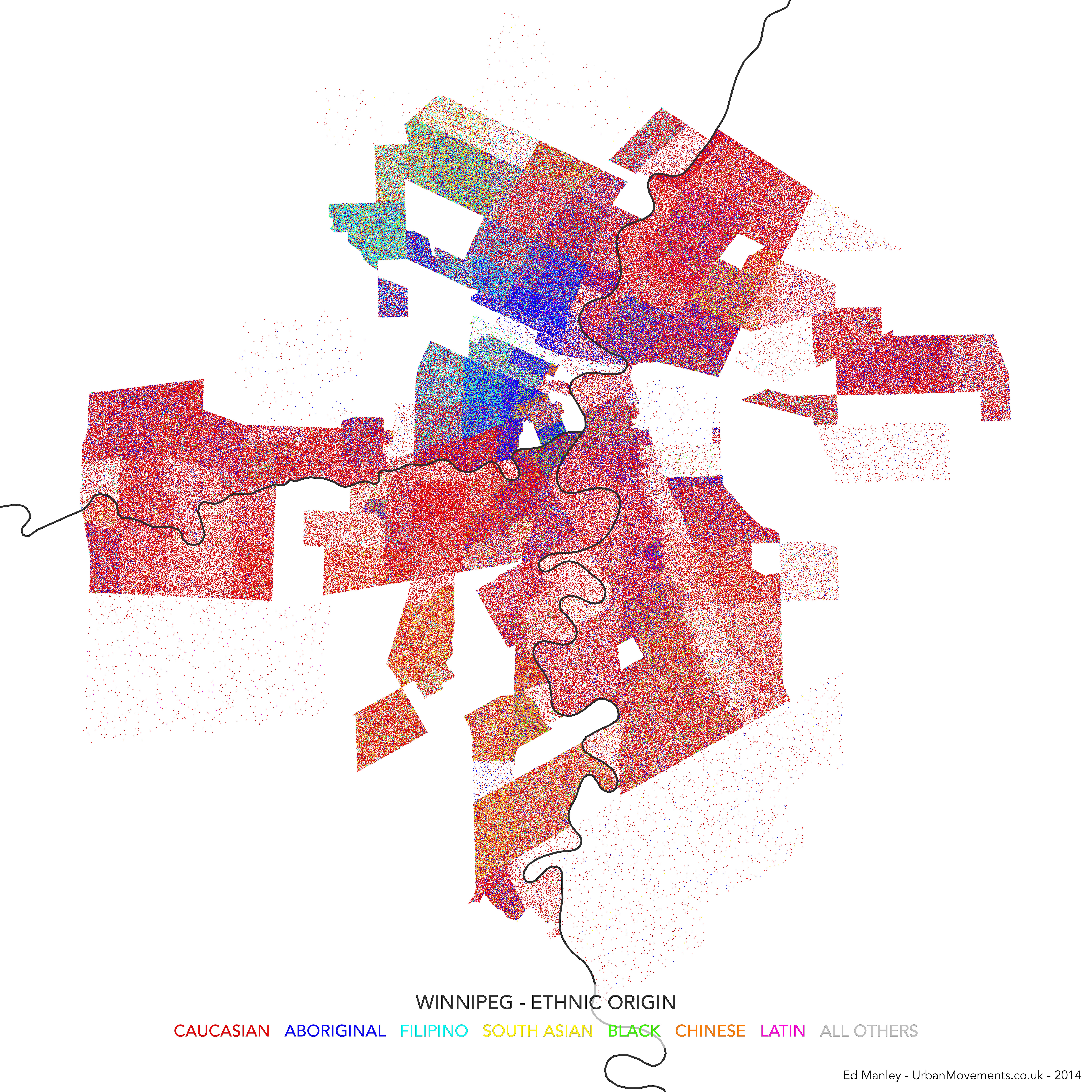 Dot Density Map Of Winnipeg Canada UrbanMovements - Us and canada population density map
