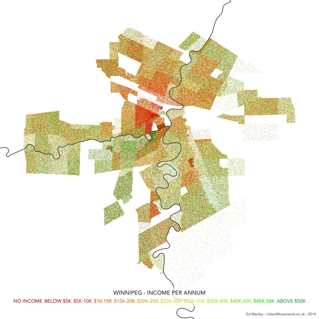 Dot Density Map of Income Variation in Winnipeg, Canada