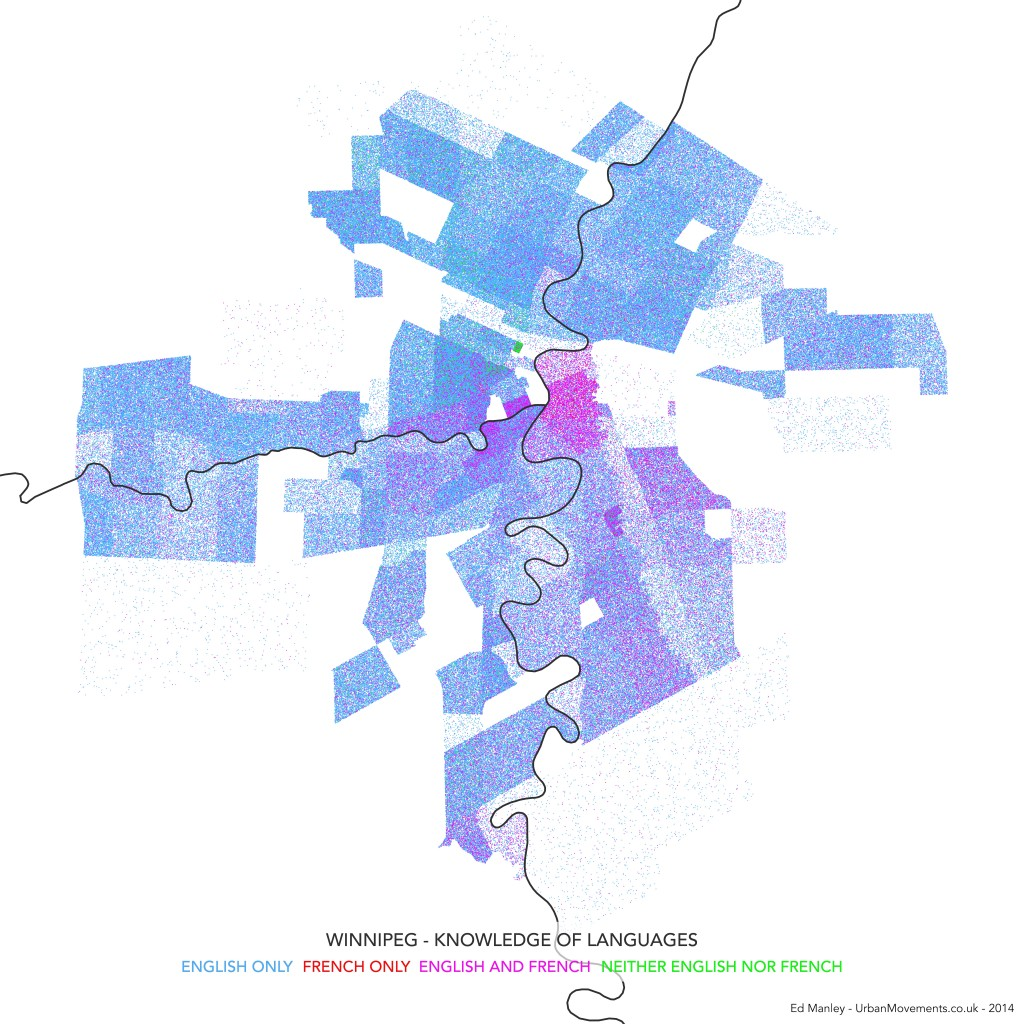 Dot Density Map of Language Knowledge in Winnipeg, Canada